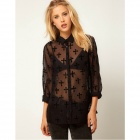 Women's Fashionable Long-sleeved Perspective Gauze Shirt - Black (Size L)