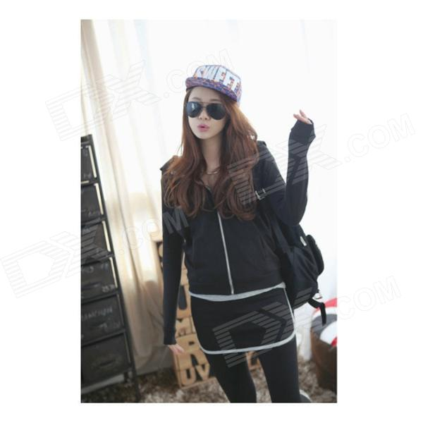 Fashionable Sports Hoodies + Pants Suits - Black (M)
