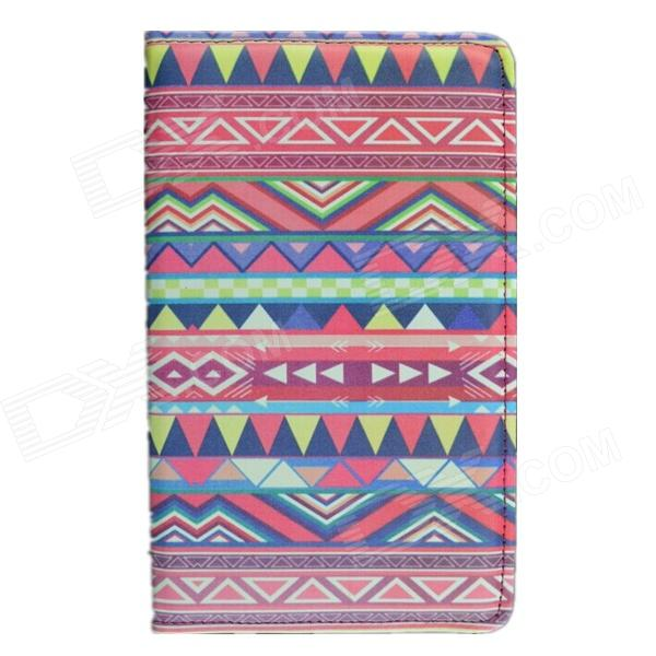 Tribal Lines Rotating Leather Case for Samsung T210 Galaxy Tab 7.0 3 P3200 - Deep Pink + White tribal lines 360 rotating leather case for samsung t210 galaxy tab 7 0 3 p3200 green white