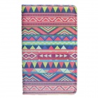 Tribal Lines Rotating Leather Case for Samsung T210 Galaxy Tab 7.0 3 P3200 - Deep Pink + White
