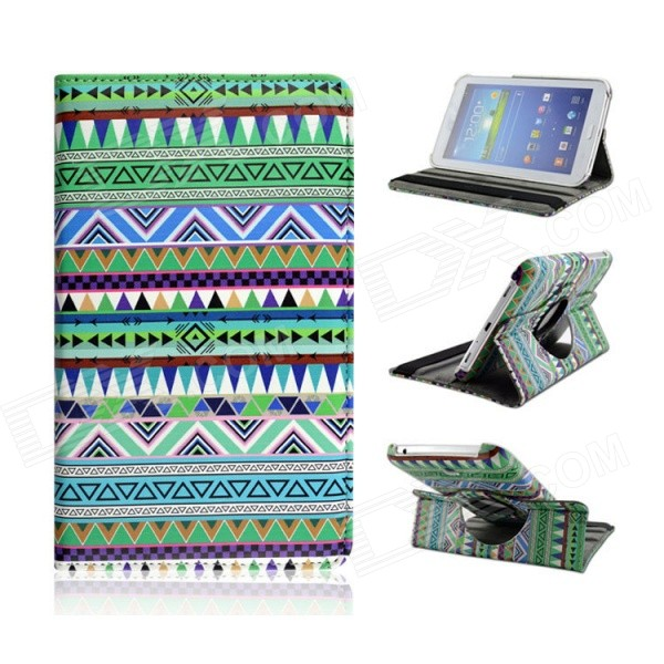 Tribal Lines 360 Rotating Leather Case for Samsung T210 Galaxy Tab 7.0 3 P3200 - Green + White tribal lines 360 rotating leather case for samsung t210 galaxy tab 7 0 3 p3200 green white