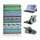 Tribal Lines 360 Rotating Leather Case for Samsung T210 Galaxy Tab 7.0 3 P3200 - Green + White