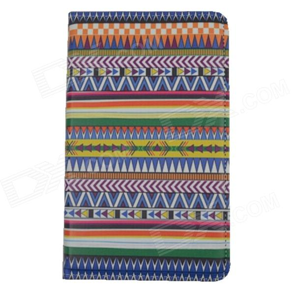 Tribal Lines Rotating Leather Case for Samsung T210 Galaxy Tab 7.0 3 P3200 - Deep Blue + White tribal lines 360 rotating leather case for samsung t210 galaxy tab 7 0 3 p3200 green white