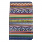 Tribal Lines Rotating Leather Case for Samsung T210 Galaxy Tab 7.0 3 P3200 - Deep Blue + White