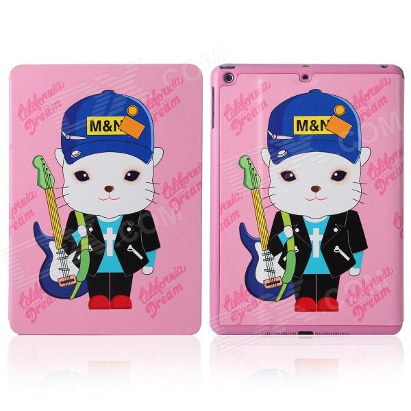 DF-008 Cartoon Cat Pattern Flip Open PU Leather + Plastic Case w/ Stand / Auto-Sleep for IPAD AIR наушники 3d 008