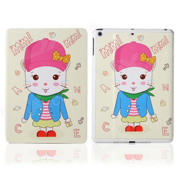 DF-008 Cartoon Rabbit Pattern Flip Open PU Leather + Plastic Case w/ Stand / Auto-Sleep for IPAD AIR funny moustaches pattern pu leather flip open case w stand for ipad 2 the new ipad ipad 4