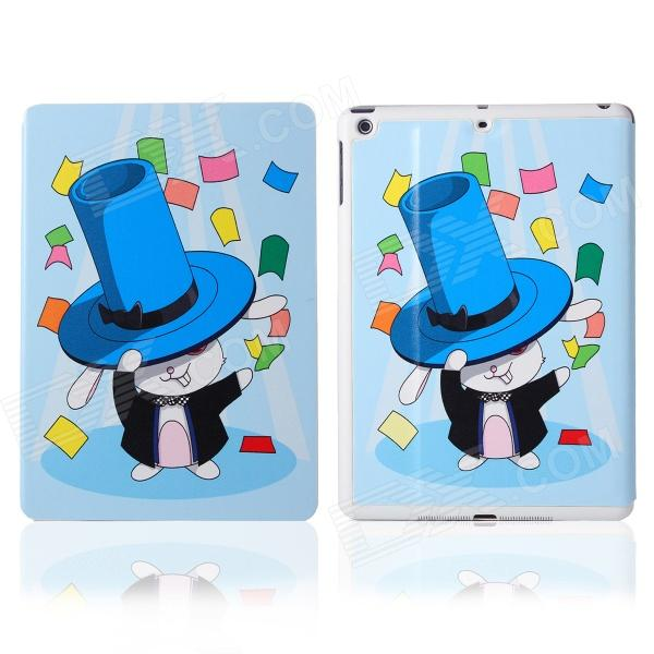 DF-008 Rabbit in Hat Pattern Flip Open PU Leather + Plastic Case w/ Stand / Auto-Sleep for IPAD AIR
