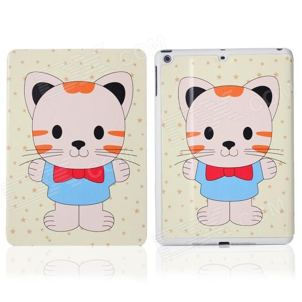 DF-008 Cute Cat with Bowknot Pattern Flip Open PU + Plastic Case w/ Stand / Auto-Sleep for IPAD AIR