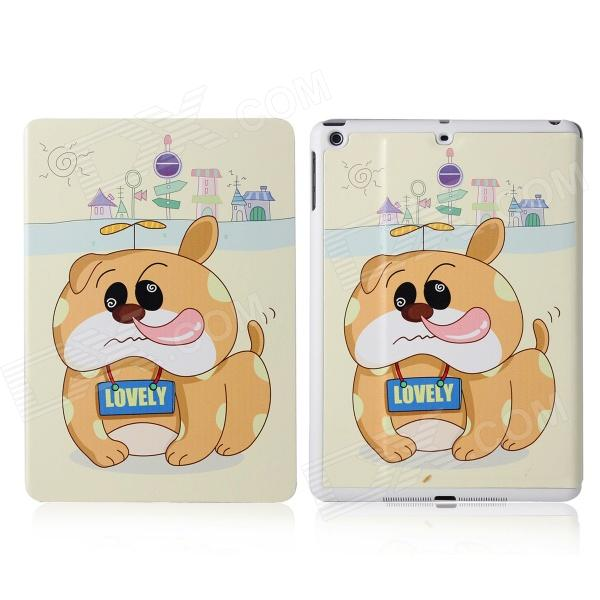 DF-008 Dog & Bamboo-copter Pattern Flip Open PU + Plastic Case w/ Stand / Auto-Sleep for IPAD AIR boxwave huawei g6310 bamboo natural panel stand premium bamboo real wood stand for your huawei g6310 small