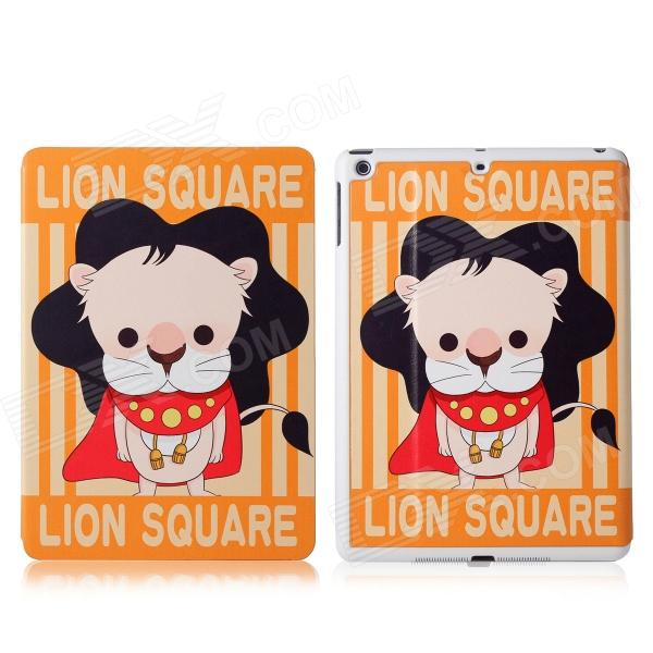 DF-008 Cartoon Lion Pattern Flip Open PU Leather + Plastic Case w/ Stand / Auto-Sleep for IPAD AIR funny moustaches pattern pu leather flip open case w stand for ipad 2 the new ipad ipad 4