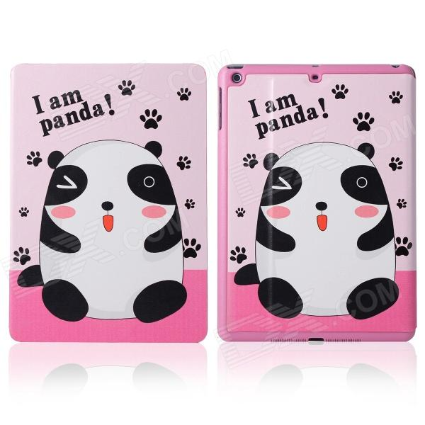 DF-008 Cute Panda Pattern Flip Open PU Leather + Plastic Case w/ Stand / Auto-Sleep for IPAD AIR funny moustaches pattern pu leather flip open case w stand for ipad 2 the new ipad ipad 4