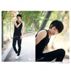 M2002 Men's Fashionable Stretch Cotton Vest - Black (Size L)
