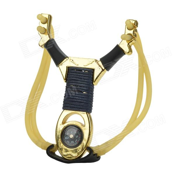 DaMoFengLang Zinc Alloy Sword Style Metal Handle Slingshot w/ Compass - Golden Yellow + Black