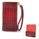 "Universal Alligator Grain Wallet Style PU Case w/ Card Slot for IPHONE / 5"" Cellphones - Red"