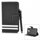 Protective PU Case w/ Stand + Card Slot + Protector + Stylus for Samsung Galaxy S5 - Black + White