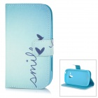 IKKI Protective PU Case w/ Stand + Card Slot for Samsung Galaxy Trend Duos S7562 / S7560 - Blue