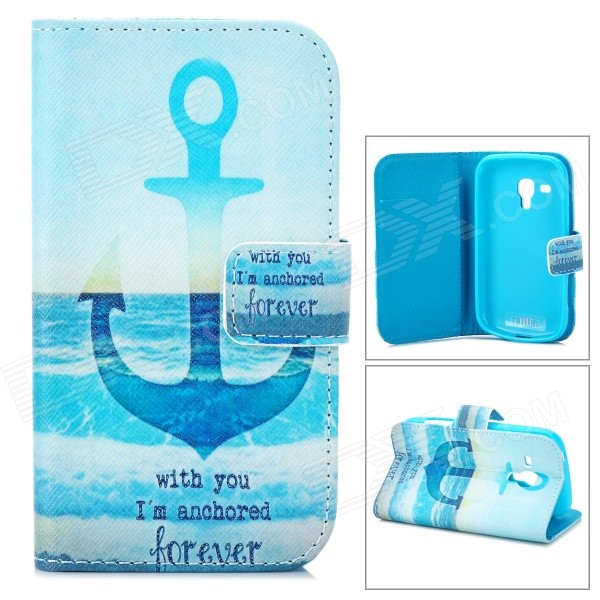 IKKI Anchor Pattern PU Case w/ Stand + Card Slot for Samsung Galaxy Trend Duos S7562 / S7560 - Blue