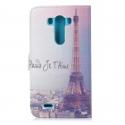 IKKI Eiffel Tower Pattern Protective PU Case w/ Stand + Card Slot for LG G3 / D855 - Multi-colored