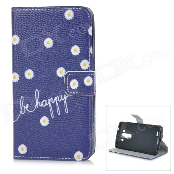 IKKI Patterned Flip-Open Protective PU Case w/ Stand + Card Slot for LG G3 / D855 - Deep Blue