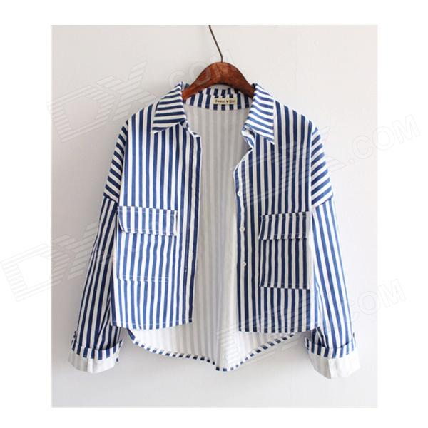 Stylish Striped Embroidered Short Denim Jacket Shirt - Blue + White