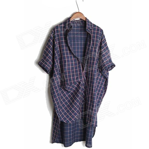 Plaid Pattern BF Loose Cotton Shirt for Women - Deep Blue