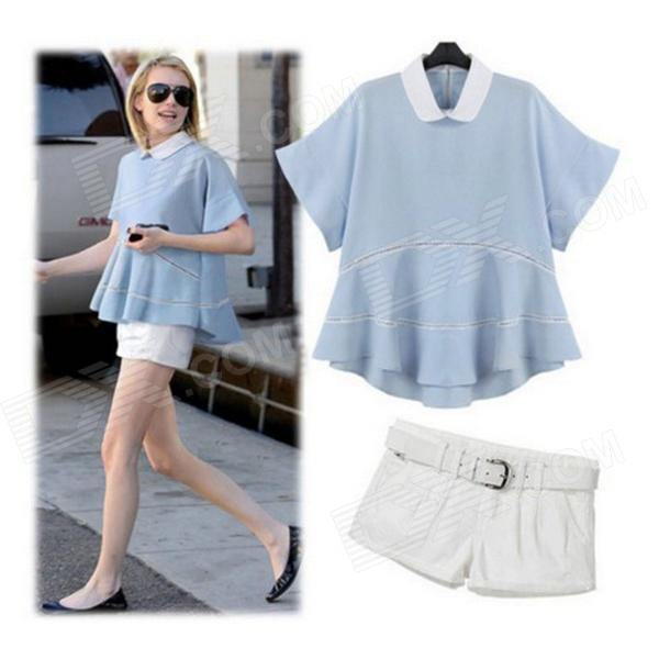 Simple Stylish Flare Hem T-Shirt + White Shorts Suits - Light Blue + White (S)