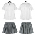 Stylish Openwork Lace Blouse + Stripe Skirt Suits - White + Grey (S)