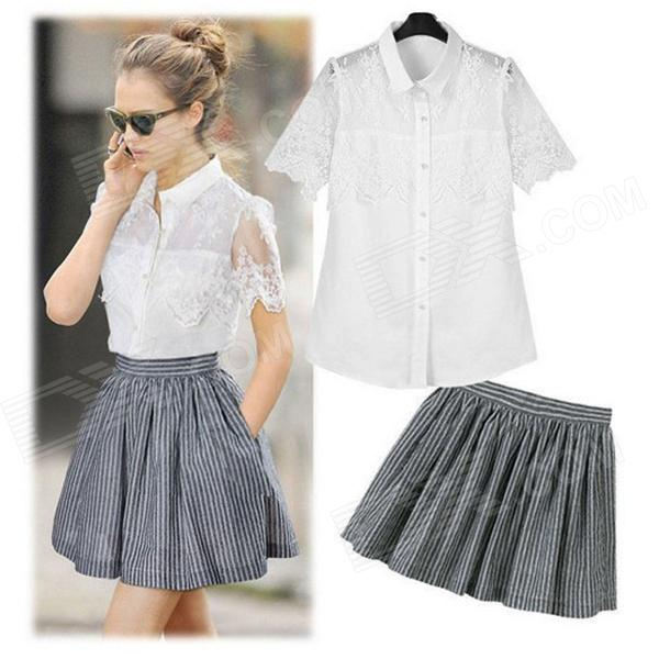 Stylish Openwork Lace Blouse + Stripe Skirt Suits - White + Grey (M)