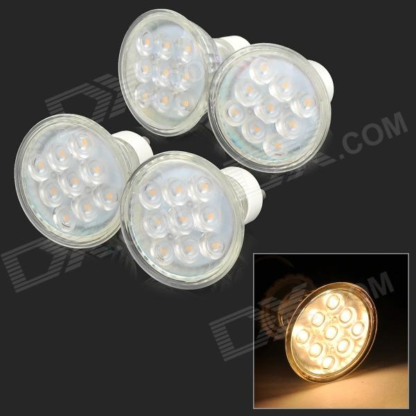 GU10 3W 300lm 3000K 9-2835 SMD LED Warm White Light Bulb w/ Dustproof Cover (220~240V / 4 PCS)
