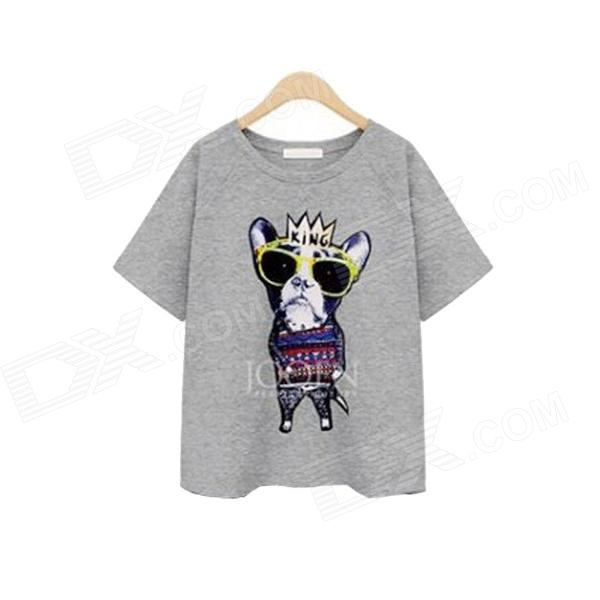 Stylish Cartoon Print T-shirt - Grey (L)