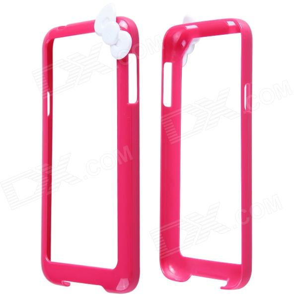 Fashion Protective PC Bumper Frame Case w/ Bowknot for Samsung Galaxy S5 I9600 - Deep Pink + Black fashionable protective bumper frame case with bowknot for samsung galaxy s3 i9300 black