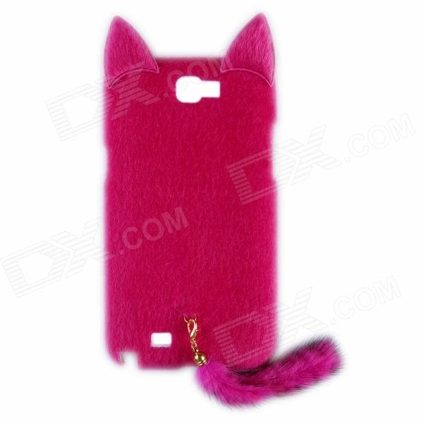 Fashion Plush Mink Style Protective PC Case w/ Tail for Samsung Galaxy Note II 7100 - Deep Pink metal ring holder combo phone bag luxury shockproof case for samsung galaxy note 8