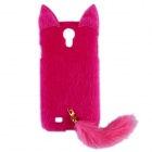 Fashion Plush Mink Style Protective PC Case with Tail for Samsung Galaxy S4 - Deep Pink