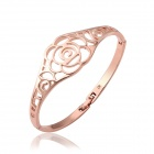 Frauen modisch Rose Gold Messing Blumen Skeleton Armband - Rose Gold