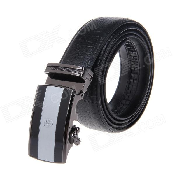 Men's Simple Elegant Split Leather Belt w/ Automatic Ratchet Buckle - Black pouchkan stylish cow leather men s belt with zinc alloy buckle black