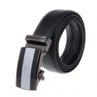 Men's Simple Elegant Split Leather Belt w/ Automatic Ratchet Buckle - Black
