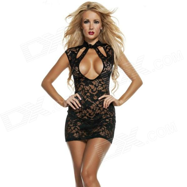 Women's Fashionable Sexy Lace Cosplay Role Play Sleep Dress Jumpsuit Set - Black