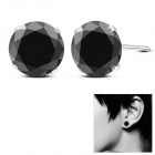 EQute ESIW12S8C1 Women's Fashionable Silver Plating Earrings Ear Studs - Black + Silver (Pair)