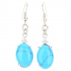 FenLu LSS08 Women's Turtle Style Turquoise Earrings / Eardrop - Blue + Silver (Pair)