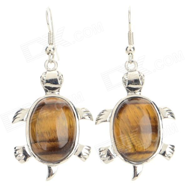 WG001 Women's Tiger's Eye Turtle Style Earrings Eardrop - Brown + Silver (Pair) silver dreams серьги silver dreams dm1233 tte sr 001 wg белый