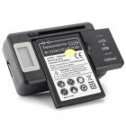 "3.8V 2100mAh Battery + 0.8"" LCD Screen Charging Station + EU Plug Adapter Set for LG L70 - Black"