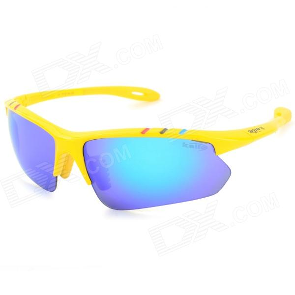 KALLO Outdoor Cycling UV400 Protection TR90 Frame Blue REVO Lens Sunglasses - Yellow