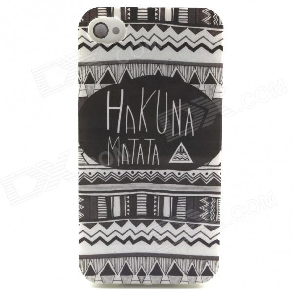Hukuna Matata Tribal Pattern TPU Soft Back Case for IPHONE 5 / 5S - Black + White elegance tpu pc hybrid back case with kickstand for iphone 7 plus 5 5 inch red