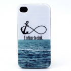 """I Refuse to Sink"" Ocean Pattern TPU Soft Back Case for IPHONE 4 / 4S - White"