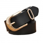 N84 Women's Split Leather Vintage Carved Pin Buckle Belt - Black