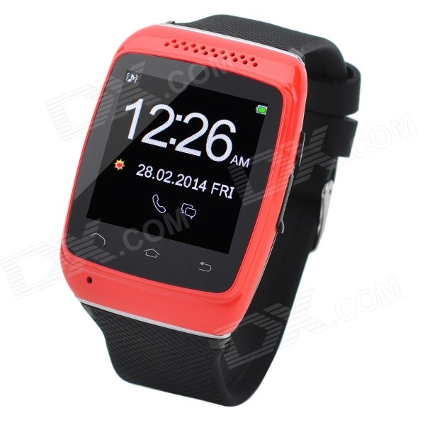 S12 1.54 Touch Screen Silicone Smart Bluetooth V3.0 Wrist Watch for IPHONE 5 - Red + Black - DXOther Bluetooth Devices<br>Does not support external storage; Bluetooth V3.0 1.54 -inch high-definition capacitive touch screen; Resolutionup to 240 x 240; Synchronous music playing; With alarm voice dialing calculator calendar radio; Battery capacity: 360mAh; FM radio: 87.5~108 MHz<br>