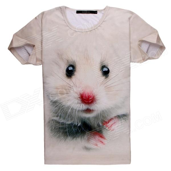 3D Printing Mice Design Cotton T-Shirt - Beige (Size L) creative bathing suit human body style windproof blue flame butane gas lighter black red white
