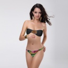 T129 Women's Sexy Nylon + Lycra + Spandex Two-Piece Bikini Swimwear - Black + Green (M)