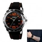 SKMEI 0992 Men's Water Resistant Silicone Band Quartz Watch w/ Calendar - Black + Orange (1 x LR626)