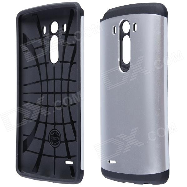 Simple Protective PC + Silicone Back Case for LG G3 - Silver + Black lg g3 s